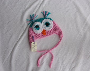 Owl Hat 0-3 months, ready to ship, TURQUOISE/PINK, winter hat, baby gift, baby shower, photo prop, woodland creature,