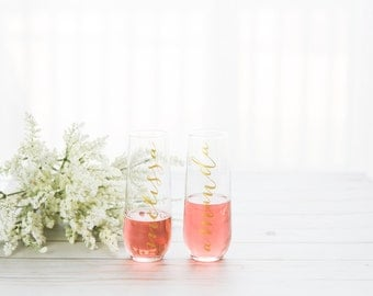 Bridesmaid Personalized Stemless Champagne Glasses / Flutes - perfect for your bridesmaids!