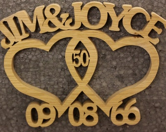 Wooden Handmade Entwined Heart personalised wedding anniversary Gift anniversary