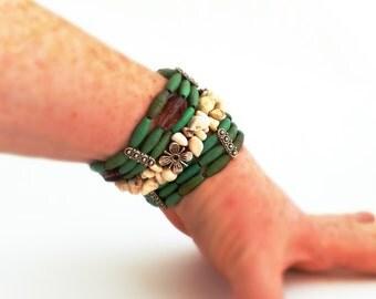 Stone bracelets, bracelet set, stretch bracelets, green and white, modern tribal, boho stacking bracelets, Australian, silver flowers