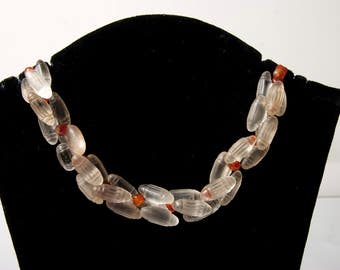 1800's Bohemian glass trade beads and carnelian necklace African trade beads