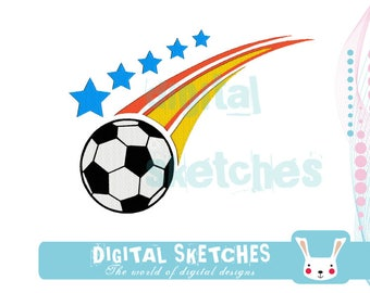 Soccer Machine Embroidery Design 4 Sizes