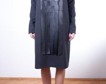 leather detail dress / modern Tunic/ Oversized dress / plus size dress/ unique dress/ loose fit dress