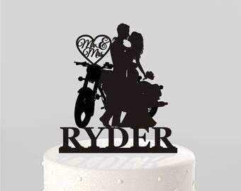 Wedding Cake Topper Silhouette Couple on Motorcycle Mr & Mrs Personalized with Last Name, Acrylic Cake Topper [CT122]