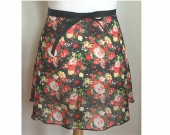 Black Red Flower Ballet Wrap Skirt for Adult/Teen