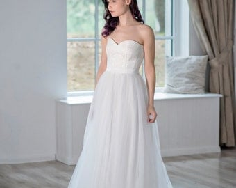 Heather - strapless wedding dress / a line bridal gown / corset wedding dress / three piece wedding dress / bridal separates /