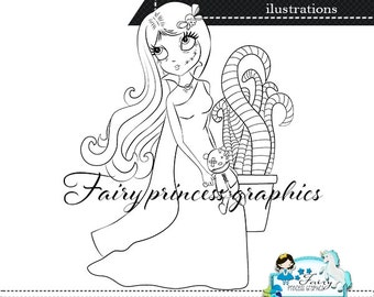 Digital stamps, Zombie girl digistamp, Halloween digistamp, digi stamps, digistamps, coloring page, line art.