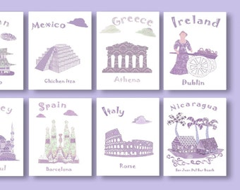 191,Oh,the places you'll go,Dr Seuss,baby girl art print,travel nursery,purple,