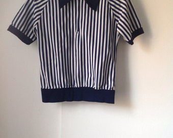 Vintage 70s Felco Referee Shirt Jersey, Blue and White Striped Shirt, women's Small