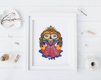 Princess Owl, Watercolor Art Print