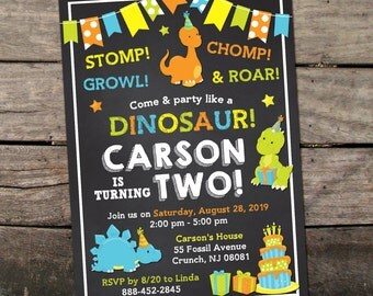 10% OFF NEW Printed or Digital Dinosaur Birthday Invitation Dino Birthday Invitation Dinosaur Birthday Party Printable