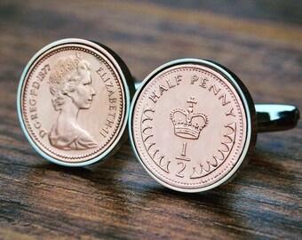1977 Cufflinks Half Penny Birth Year Coin Cufflink 40th Birthday Coin Cufflinks Mens Birthday Copper Anniversary Present Gift 1977 Ladies