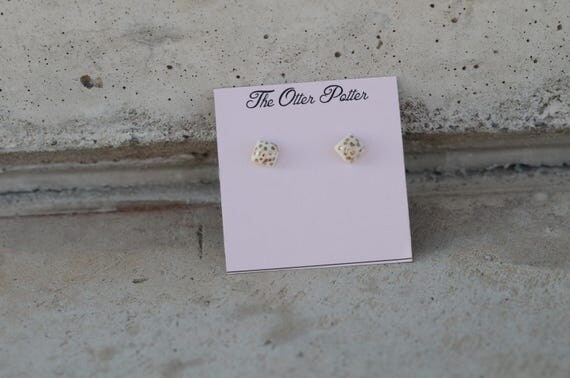 Mini porcelain Square Stud Earrings w 18k gold Polka dots