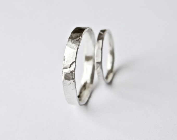 Wedding Band Set - Two Hammered Silver Rings - Sterling Silver - Men's - Women's - His and Hers - Flat Hammered - Recycled