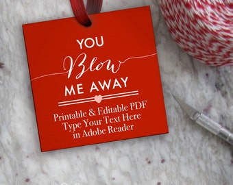Bubbles Tags Printable, Editable Valentine Tag Template // Printable You Blow Me Away Tags // DIY Digital PDF // 2 inch Square 2x2 Gift Tag
