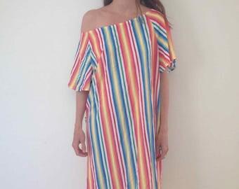 one size STRIPED rainbow mumu beachwear over swimsuit over swimwear surfs up free flowing robe lounge small med bright 1970's kaftan caftan