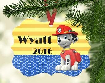 Personalized Paw Patrol Ornament ~ Marshall~ Christmas Ornament