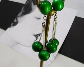 Loops ears end 70/80 plastic green vintage emaillle glamour chic disco party
