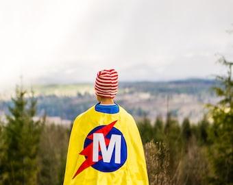 FREE MASK . Birthday Boy Cape . Yellow Blue Cape . Lightning Bolt Cape . Superhero Cape . Quick Shipping Cape . Costume Cape