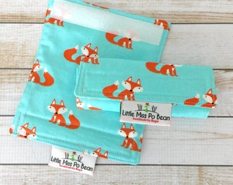 Turquoise Aqua Foxes Fabric Luggage Handle Wrap Covers Set of 2, Luggage Tags, Travel Tags, Luggage Identifier