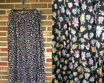 1990s Floral Light Flowy Maxi Skirt, L