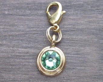 Peridot Crystal Charm - Gold - Pet Collar Charm - Dog Cat Bridle Charm