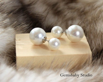 Double Pearl Earring Studs/Pearl Earring Bridesmaid/Pearl Earring/White Pearl Jewelry/Mother of pearls earring/Gift for Daughter/Christmas