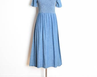 vintage 90s dress, 90s babydoll dress, 90s jean dress, smocked elastic, 90s maxi dress, long babydoll, denim babydoll, denim dress, S small