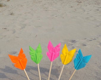Set of Five Felt Arrow MERRYWEATHER Pencil Toppers, Vegan