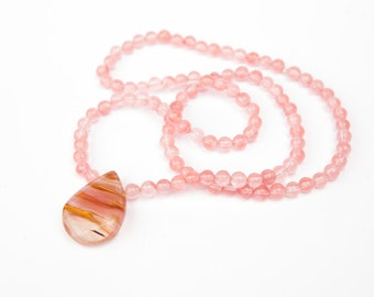 Cherry Quartz Mala necklace, 108 Mala Beads, Yoga Gift, Prayer and Meditation Beads