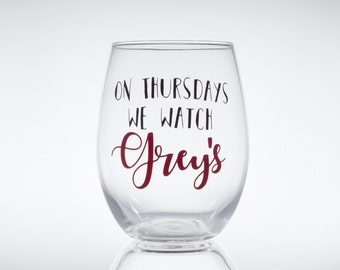 On Thursdays We Watch Grey's -- Grey's Anatomy -- Greys -- Meredith Grey -- Cristina Yang -- Stemless Wine Glass