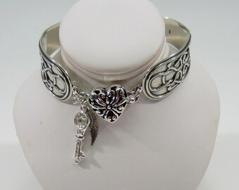 Antique silver spoon style bracelet with Celtic knot design