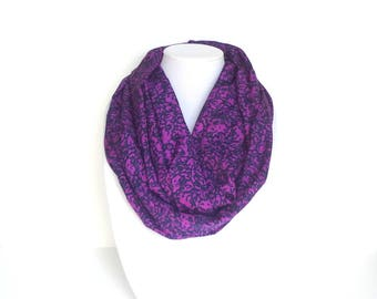 Purple Infinity Scarf, Purple Floral Scarf, Printed Scarf, Gift For Mom, Birthday Gift, Lightweight Scarf