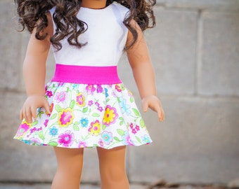 American Girl Doll Skirt and Top made with Liberty Jane Patterns