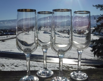 """Platinum Rimmed Crystal Champagne Flutes, Ribbed Stems, 1-7/8"""" Diameter x 7-5/8"""" Tall, Set of 4"""