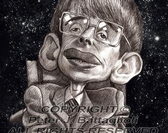Stephen Hawking Poster Caricature Art Print