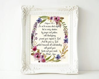 Bible Verse, Philippians 4:6-7, Scripture, Inspirational Quotes, Wall Art, Watercolor Flowers, Do not be Anxious about Anything, Digital