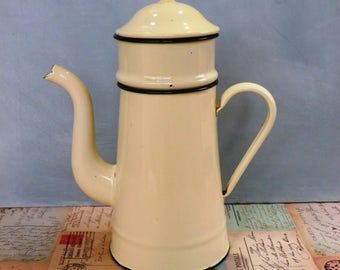 Rustic French Enamel Coffee Pot Cream Enamel Coffee Pot Kitchenalia