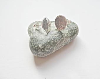 Silver disc earrings, Fine silver disc stud earrings, Hammered disc studs, Silver stud earrings, Textured stud earrings, Made in the UK