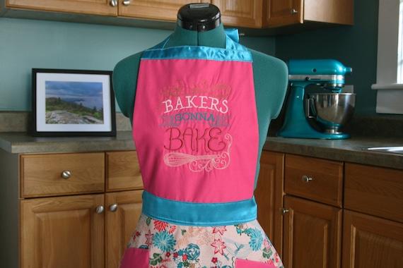 Bakers Gonna Bake Apron - Embroidered Apron - Womens Apron - Retro Apron - Kitchen Apron - Baking Apron - Ready to Ship
