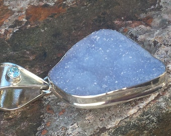 Blue Chalcedony Druzy Sterling Pendant~Beautiful Extra Lg Blue Chalcedony Druzy~Sterling Silver 925~Artisan Gemstone Pendant~JewelsandMetals