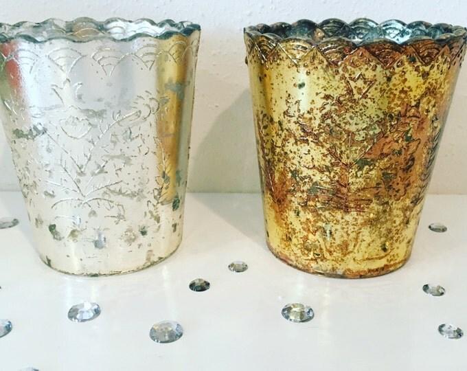 Gold Mercury Glass Votive Candle Holders, 3.5 inch Anthropologie Style Votives, Lace Scalloped Edge Votives, Gold Tea Light Holders
