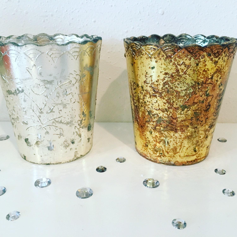 gold mercury glass votive candle holders 3 5 inch. Black Bedroom Furniture Sets. Home Design Ideas