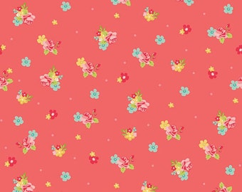 Hello Gorgeous Riley Blake C5692 Flower Toss Pink, Coral Floral Quilt Fabric, My Minds Eye, Cotton