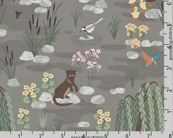 Otter Fabric, Lewis & Irene Down by the River A219 3 on Pebble, Otter Quilt Fabric,  Flowers, Ducks, Hummingbirds, Cattails, Cotton Yardage