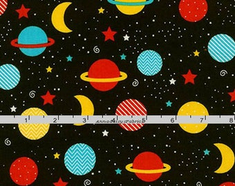Planet Fabric, Ann Kelle, Robert Kaufman 16662 204 Primary, Space Explorers, Sky Fabric, Stars & Planets Quilt Fabric, Cotton