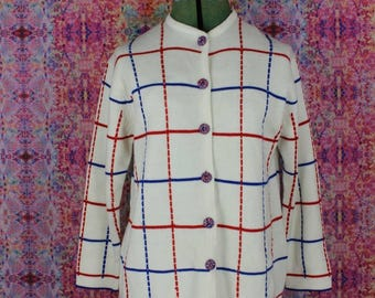 Vintage 1960s Red White and Blue Cardigan