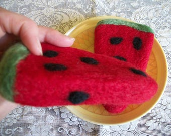 Felted Watermelon, Watermelon Slices, Fruit Decor, FeltWithAHeart