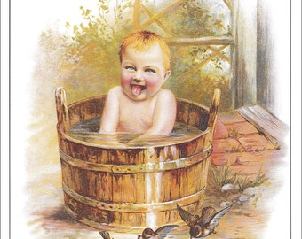 toddler baby bathing in bath tub bathing outside vintage Pears Soap advert ad advertisement victorian home decor print 8.5 x 11.5 inches