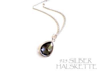 Necklace Smokey Quartz Crystal and Silver